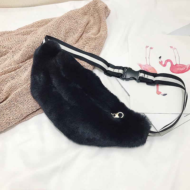 Lovely  Fashion Downy Black Velvet Crossbody