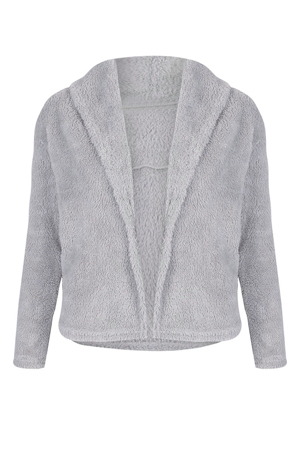 Lovely  Casual Long Sleeves  Grey Coat