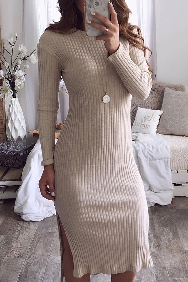 Lovely Temperament Work Long Sleeves Side Slit Khaki Blending Mid Calf Dress