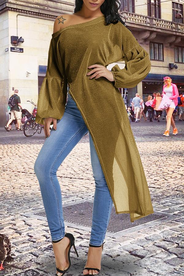Lovely Casual Lantern Sleeves Irregular Hems Gold Knitting Blouses