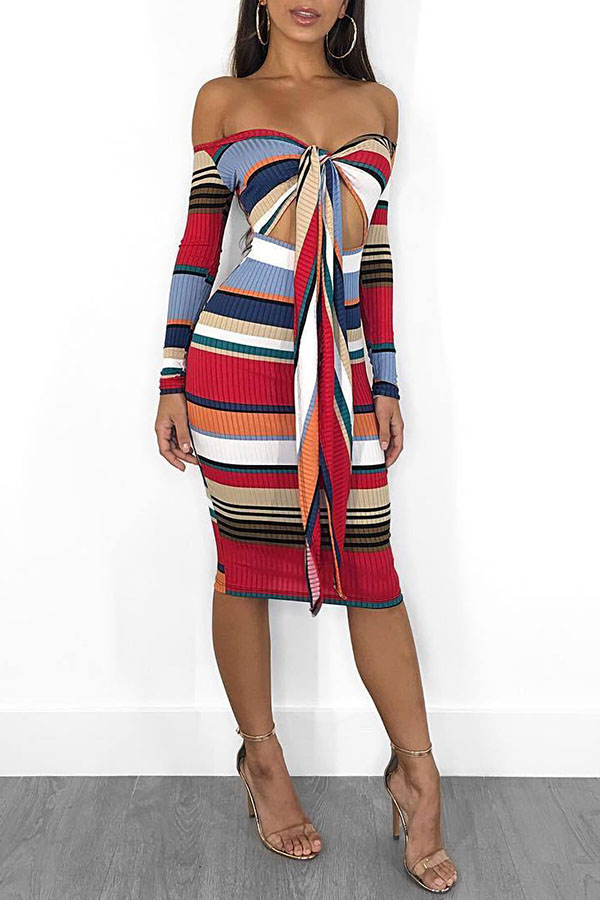 Lovely Casual Striped Knot Design Red Knitting Knee Length Dress