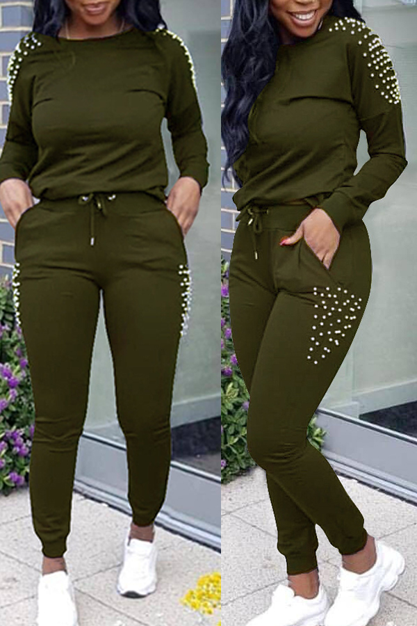 Lovely Euramerican Nail Bead Design Army Green Two-piece Pants Set