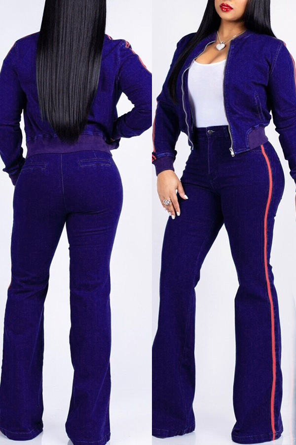 Lovely Casual Striped Royal Blue Corduroy Two-piece Pants Set