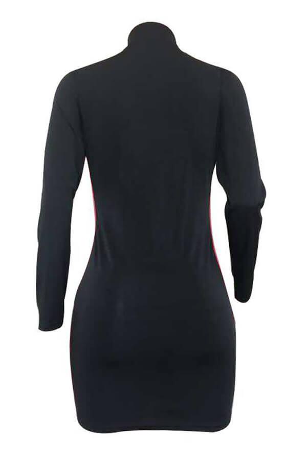 Lovely Casual Patchwork Slim Black Twilled Satin Mini Dress