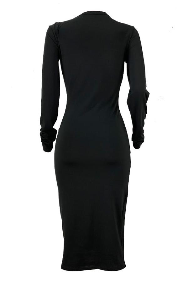 Lovely Casual Broken Holes Black Twilled Satin Knee Length Dress