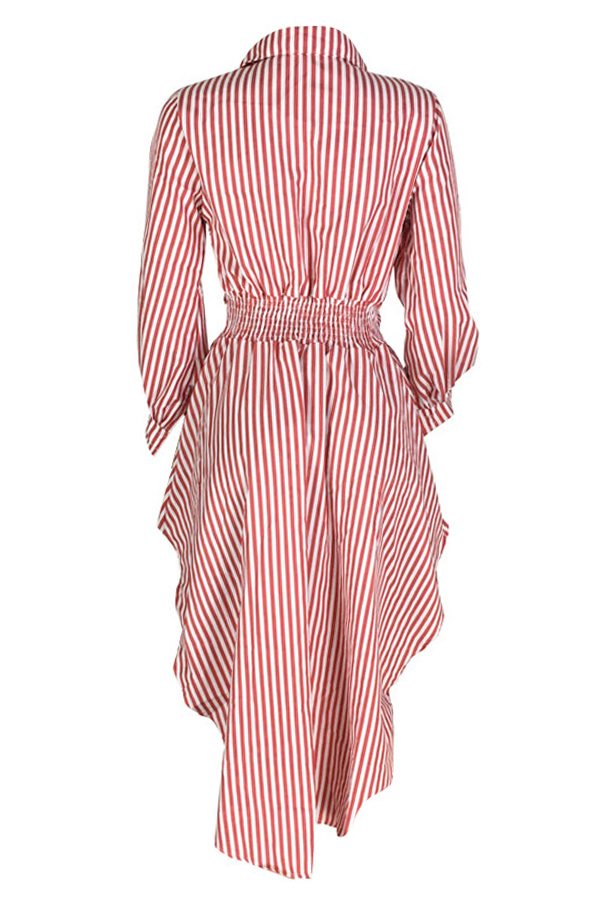 Lovely Casual Irregular Hems Striped Red Cotton Blouses