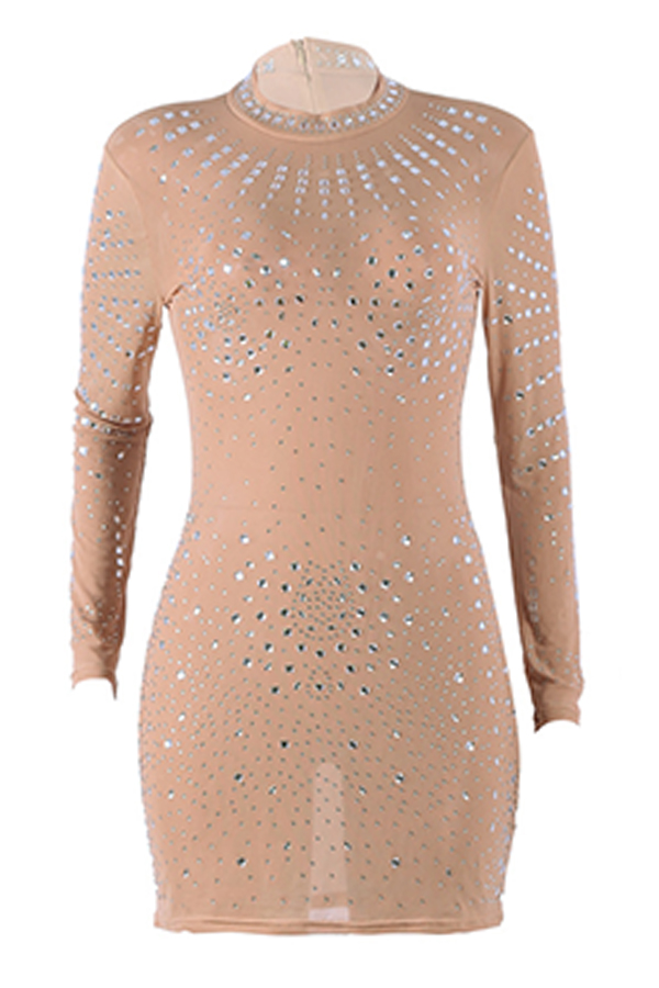 Lovely Sexy Long Sleeves Hot Drilling Decorative Khaki Mini Dress