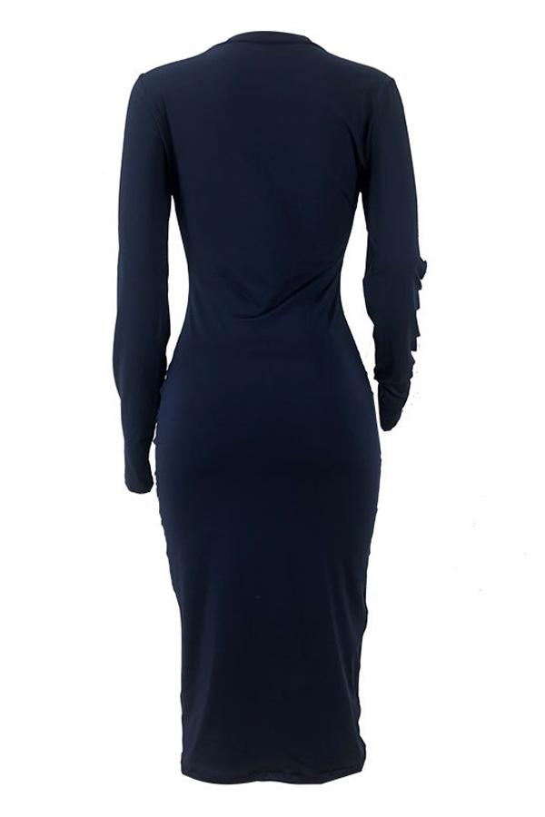 Lovely Casual Broken Holes Deep Blue Twilled Satin Knee Length Dress