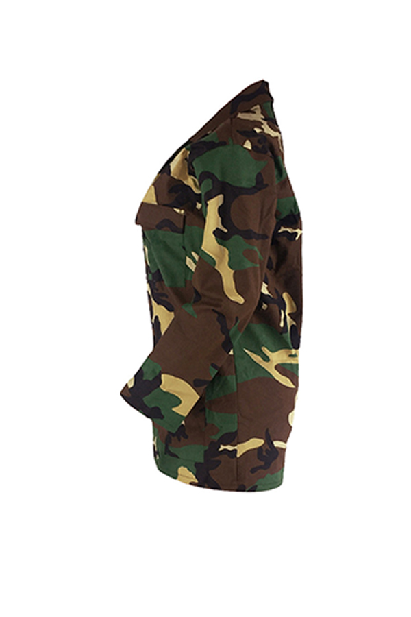 Lovely Casual Turndown Collar Single Breasted Camo Cotton Blends Coat(Without Belt)