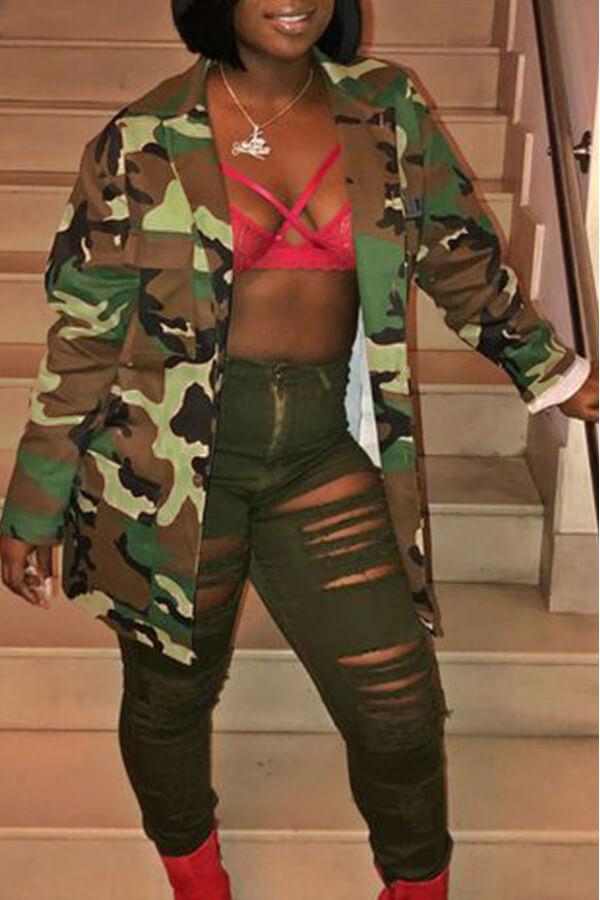 Precioso Camuflaje Casual Estampado Ejército Verde Abrigo