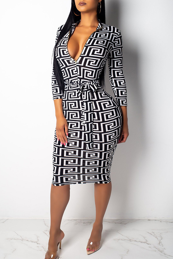 Lovely African Printed Slim White Knee Length Dress