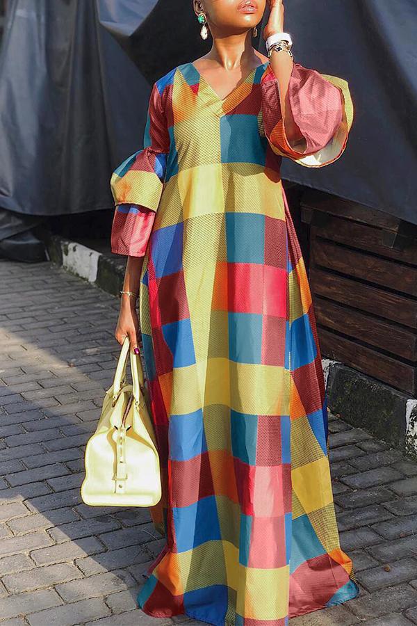 Lovely Trendy Color-lump Patchwork Multicolor Floor Length Dress