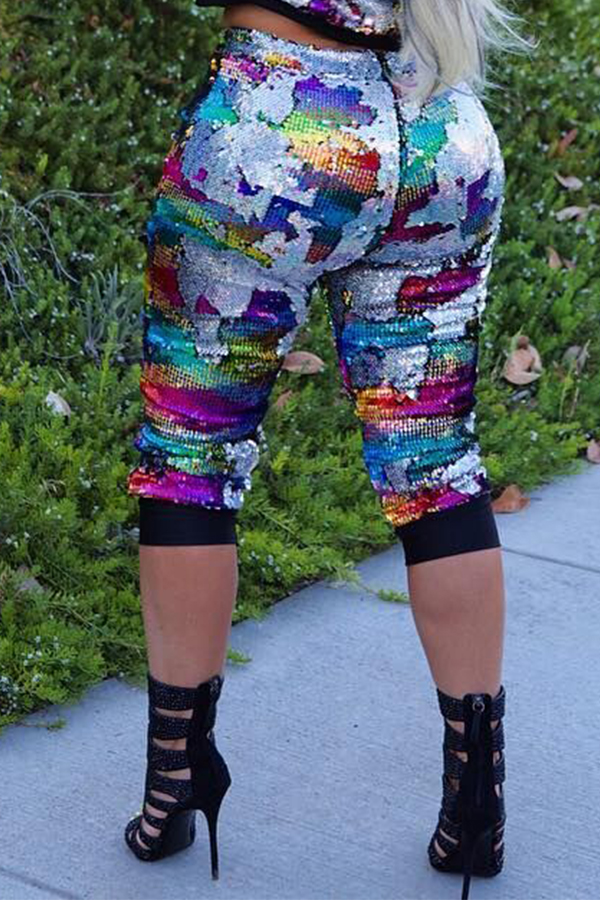 Lovely Casual Sequined Multicolor Pants