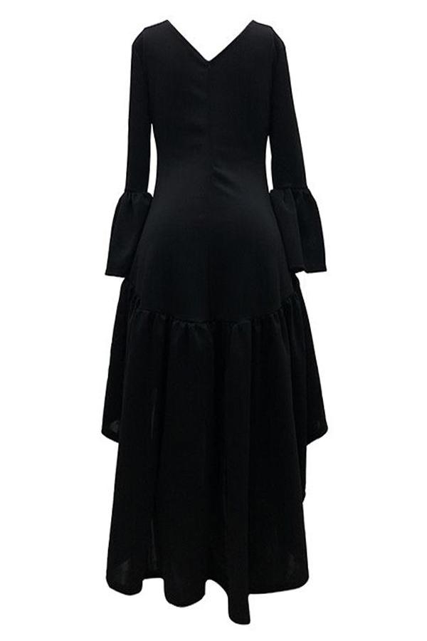 Lovely Casual Asymmetrical Flare Sleeves Black Ankle Length Dress