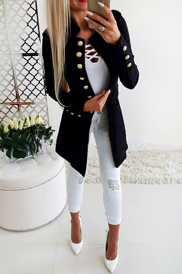 Lovely Temperament Buttons Decorative Black Coat