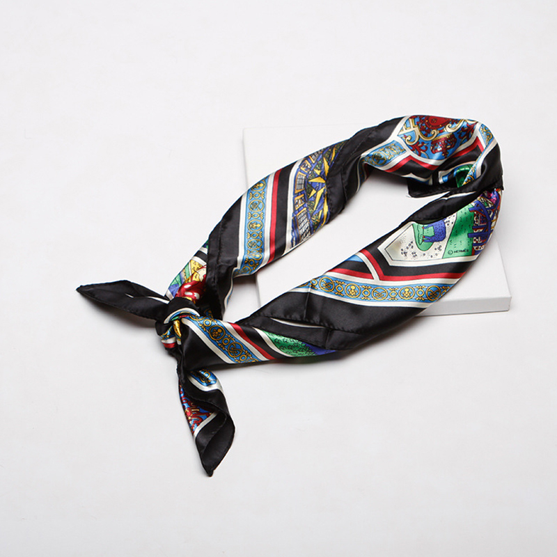 Lovely Retro Printed Black Scarves