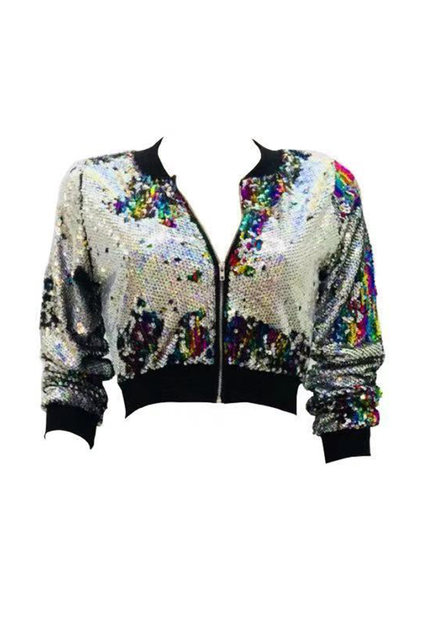 Lovely Casual Sequined Decorative Multicolor Jacket