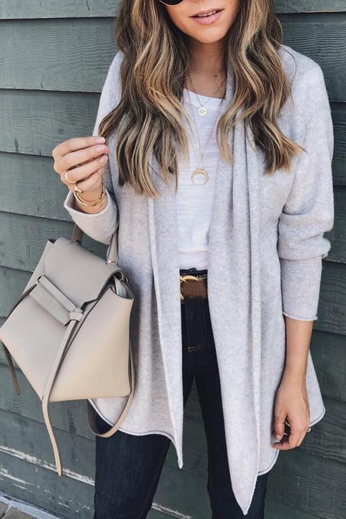 Lovely Euramerican Long Sleeves Grey Acrylic Cardigan Sweaters