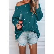 Lovely Casual The Stars Printed Green Blending Hoo