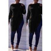 Lovely Casual  Irregular Hems  Long Sleeves Black