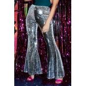 Lovely Trendy Sequined Design Sliver Cotton Pants