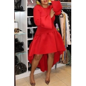 Lovely Casual Asymmetrical Flare Sleeves Red Ankle Length Dress