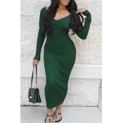 Lovely Casual Long Sleeves Slim Blackish Green Cotton Ankle Length Dress