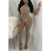 Lovely Sexy Hot Drilling Decorative Khaki Gauze One-piece Jumpsuit