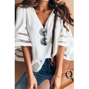 Lovely Sweet Flare Sleeves White Cotton Blouses