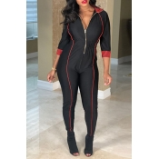 Lovely Casual Zippers Design Skinny Black Twilled Satin One-piece Jumpsuit