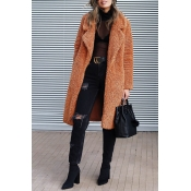 Lovely Euramerican Long Sleeves Brown Imitation Wool Coats