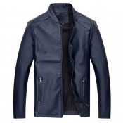 Lovely Casual Zipper Design Blue Leather Coat