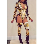 Lovely Sexy Long Sleeves Printed Black One-piece Jumpsuit