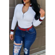 Lovely Casual Bust Zippers White Sweaters