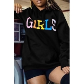 Lovely Casual Letters Printed Black Hoodies