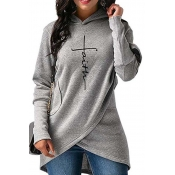 Lovely Trendy Hooded Collar Asymmetrical Grey Hood