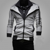 Lovely Casual Long Sleeves Light Grey Cotton Jacke