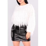 Lovely Sweet Tassel Design White Blending Sweaters
