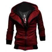 Lovely Casual Long Sleeves Wine Red Cotton Jacket
