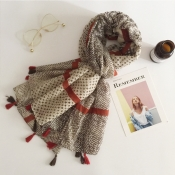 Lovely Casual Grids Khaki Cotton  Scarves
