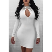 Lovely Euramerican  Hollowed-out White Mini Dress