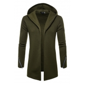 Lovely Casual Hooded Collar Green Cardigan Hoodies