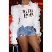Lovely Sweet Flounce Design White T-shirt