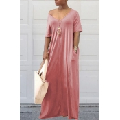 Lovely Casual Pockets Design Light Pink Blending Floor Length Dress