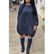 Lovely Casual Long Sleeves Loose Dark Blue Knee Length Dress