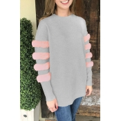 Lovely Sweet Long Sleeves Patchwork Grey Blouses