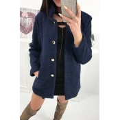 Lovely Sweet Buttons Decorative Deep Blue Cardigan