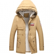 Lovely Euramerican  Hooded Collar Khaki Cottonpadd