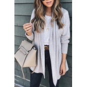 Lovely Euramerican Long Sleeves Grey Acrylic Cardi