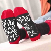 Lovely Euramerican Letters Black Acrylic Socks